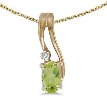 14k Yellow Gold Oval Peridot And Diamond Wave Pendant