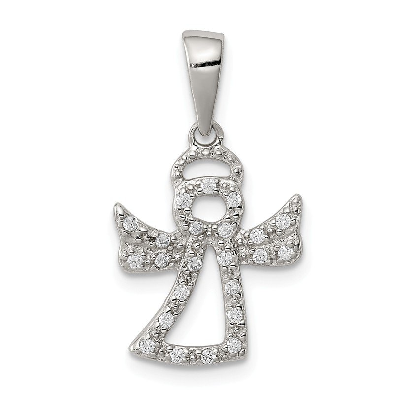 Quality Gold Sterling Silver CZ Angel Pendant