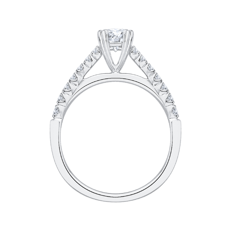 Promezza 14K White Gold Round Diamond Cathedral Style Engagement Ring