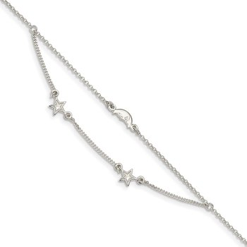 Sterling Silver 2-Strand Moon and Stars 9in Plus 1in Ext. Anklet