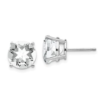 14k White Gold 9mm Cubic Zirconia Earrings