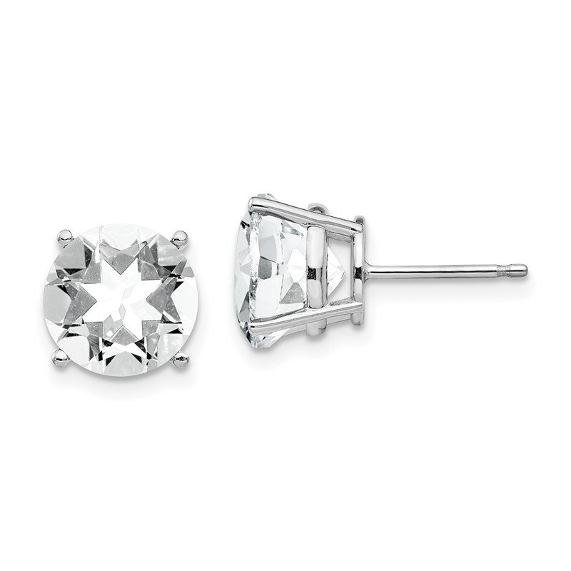 Quality Gold 14k White Gold 9mm Cubic Zirconia Earrings