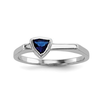 Sterling Silver Rhodium-plated Blue Glass Stone Triangle Ring
