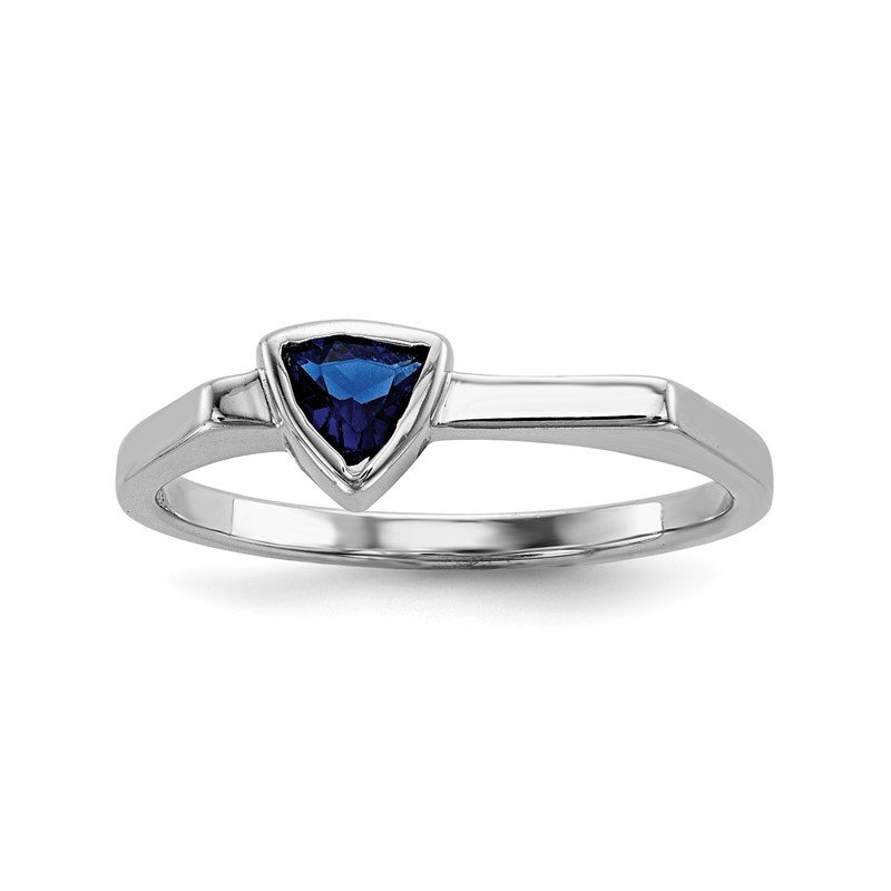 Quality Gold Sterling Silver Rhodium-plated Blue Glass Stone Triangle Ring