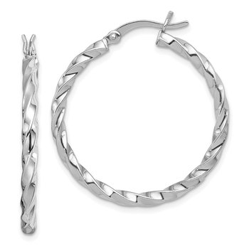 Sterling Silver Rhodium-plated Twisted 3x30mm Hoop Earrings