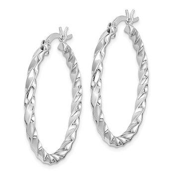 Sterling Silver Twisted 3x30mm Hoop Earrings