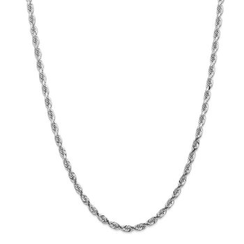 14k White Gold 4.5mm D/C Quadruple Rope Chain