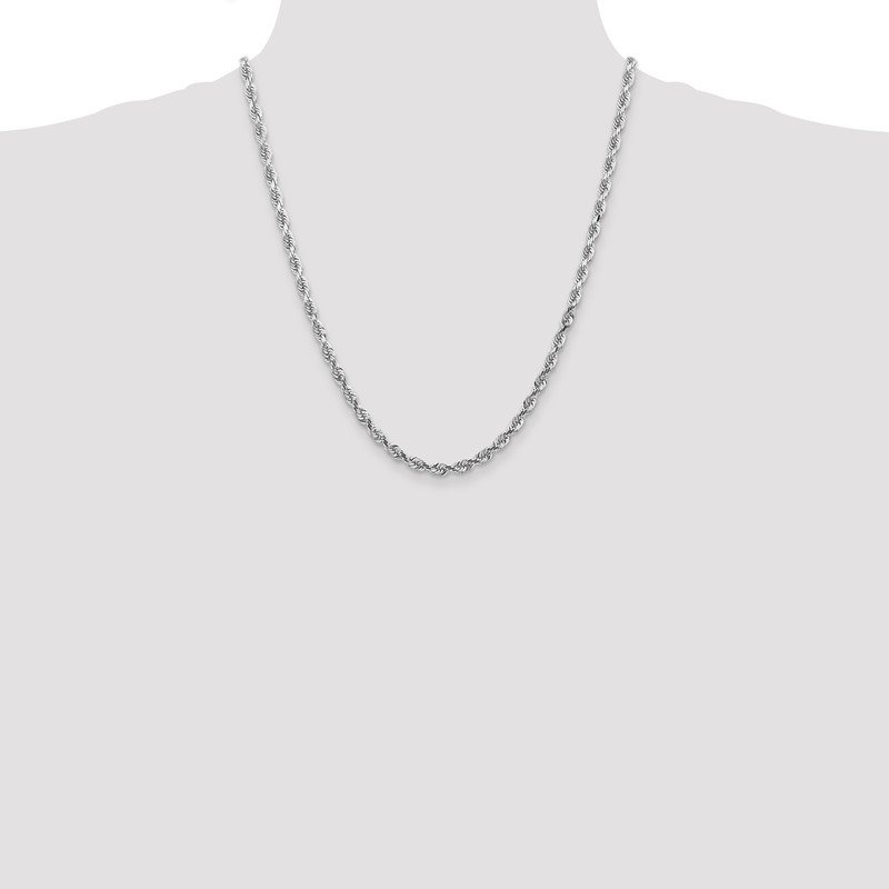 Quality Gold 14k White Gold 4.5mm D/C Quadruple Rope Chain