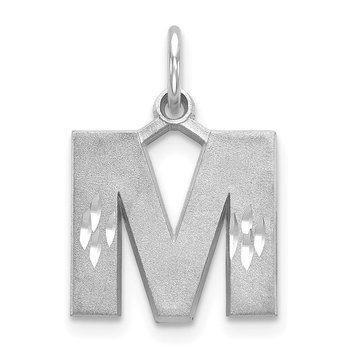 14KW Satin Diamond-cut Letter M Initial Charm