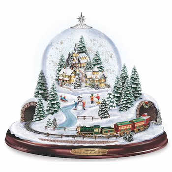 Thomas Kinkade Village Snowglobe: Lights, Music and Motion