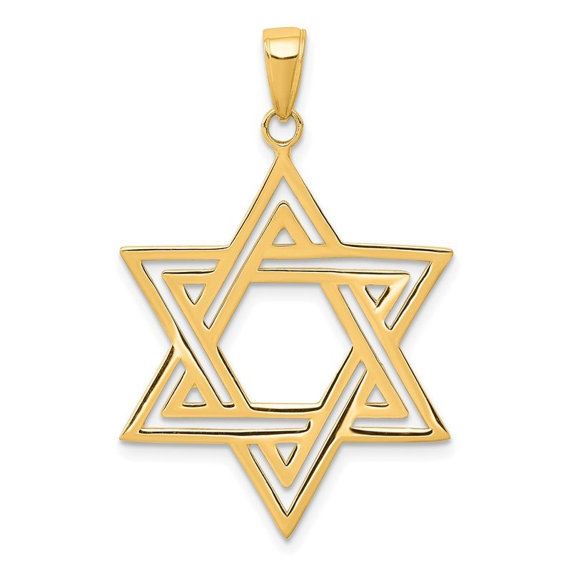 Quality Gold 14k Solid Polished Star of David Charm
