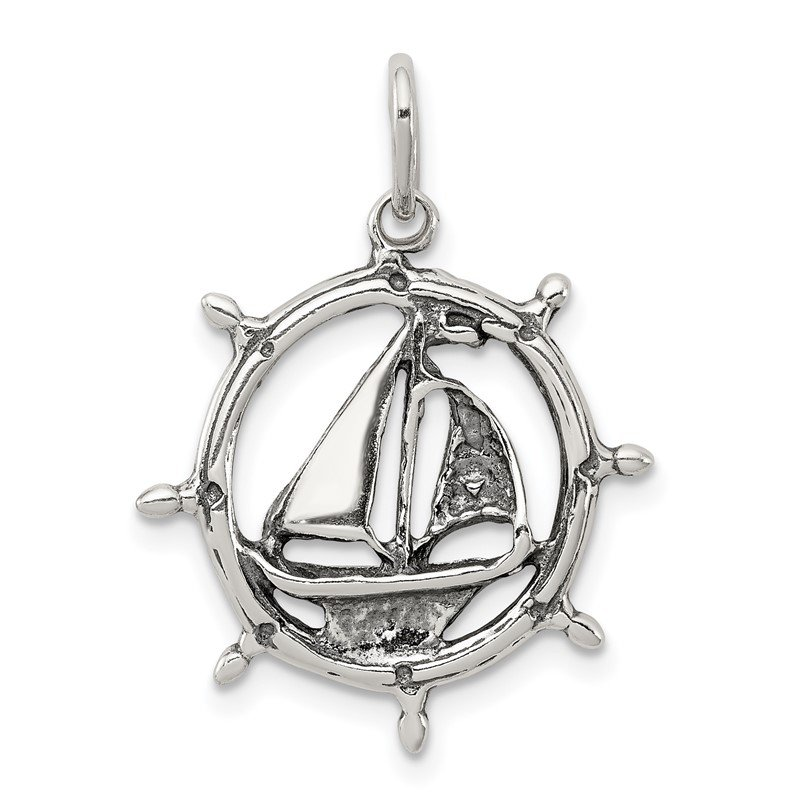 Quality Gold Sterling Silver Antiqued Sailboat in Wheel Charm