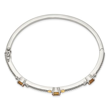 Sterling Silver w/14ky Citrine Bangle