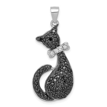 Sterling Silver Black & White CZ Cat with Bow Pendant
