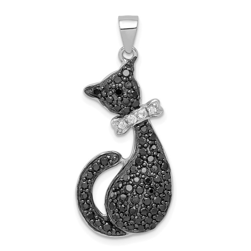Quality Gold Sterling Silver Black & White CZ Cat with Bow Pendant