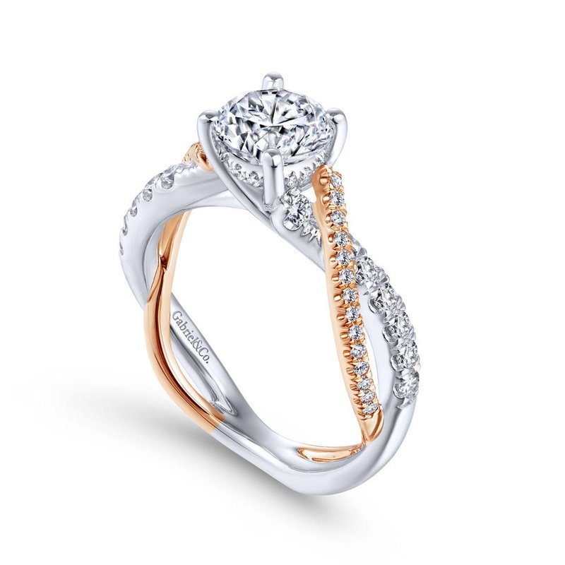 Gabriel Bridal 14K White-Rose Gold Round Diamond Twisted Engagement Ring