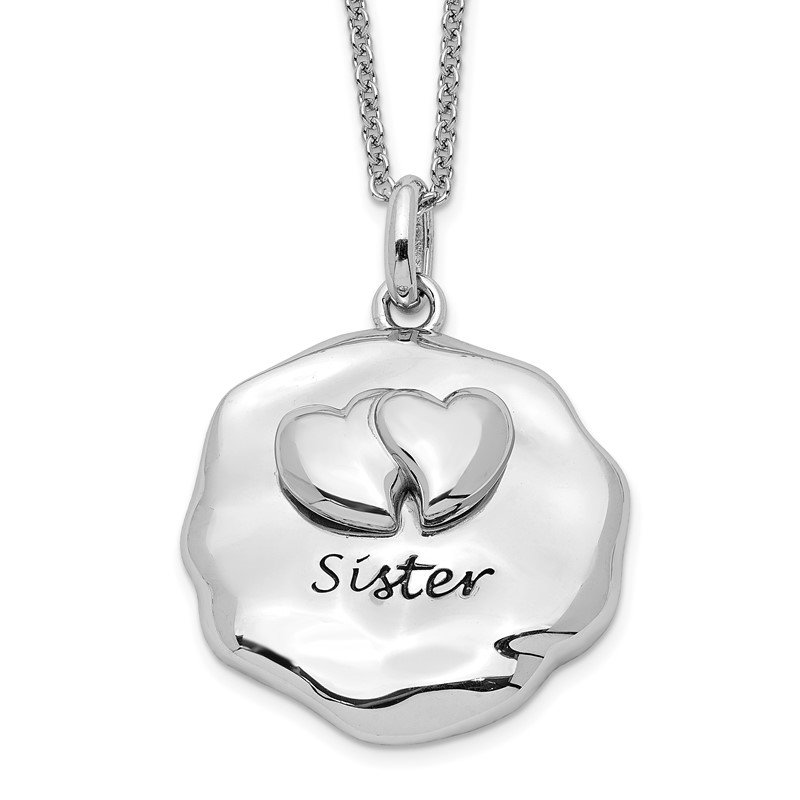 Sterling Silver Antiqued For You My Sister 18in. Necklace