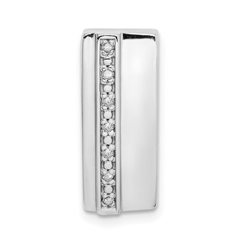 Sterling Silver Rhodium Plated Diamond Chain Slide