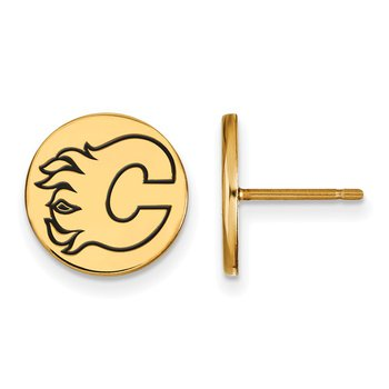 Gold-Plated Sterling Silver Calgary Flames NHL Earrings