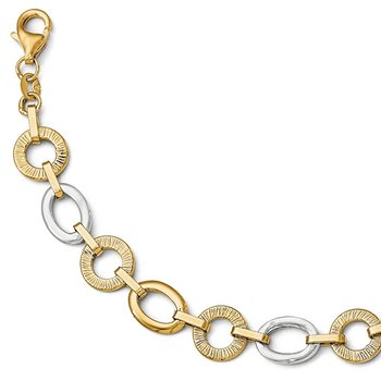 Leslie's 14k Two-tone Polished Textured Fancy Bracelet