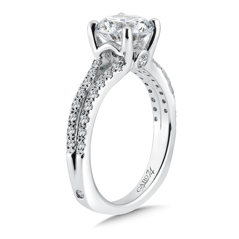 Caro74 Split Shank Engagement Ring with Side Stones in 14K White Gold (2ct. tw.)