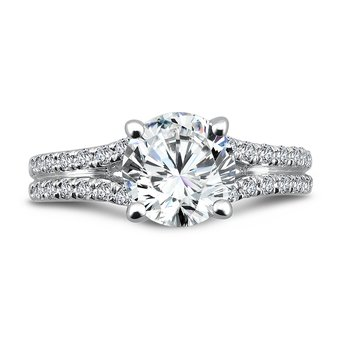 Split Shank Engagement Ring with Side Stones in 14K White Gold (2ct. tw.)