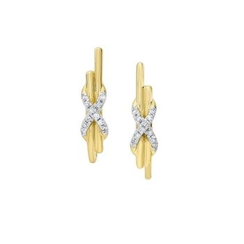 Diamond XOXO Anniversary Earrings in 14k Yellow Gold (0.06ctw)
