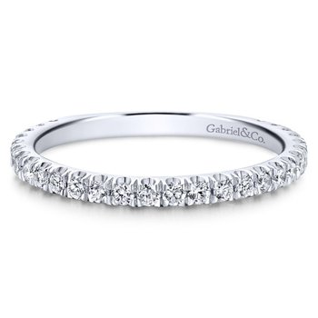 14K White Gold Straight Diamond Stackable Ring