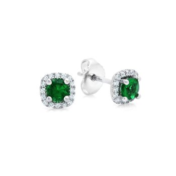 Something Special Emerald and Diamond Stud Earrings