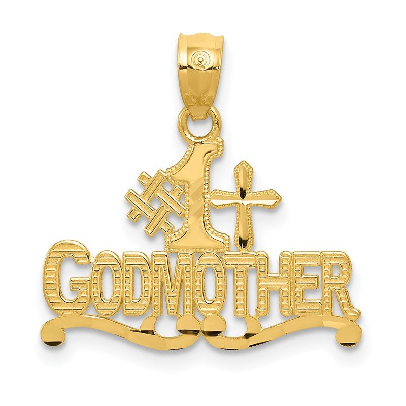 Quality Gold 14k Diamond-cut #1 GODMOTHER w/Cross Pendant