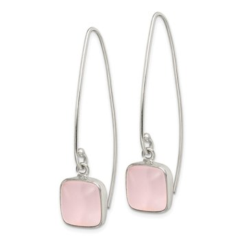 Sterling Silver Pink Sea Glass Dangle Earrings