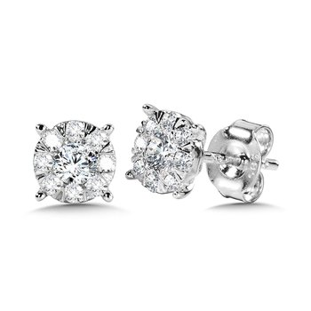 Mirage Cluster Diamond Stud Earrings
