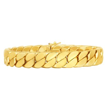 14K Gold Maschio Thick Modern Curb Bracelet For Men