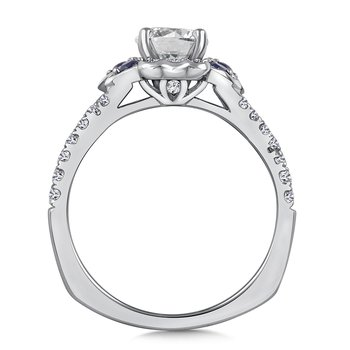 Diamond & Blue Sapphire Engagement Ring Mounting in 14K White Gold (.32 ct. tw.)