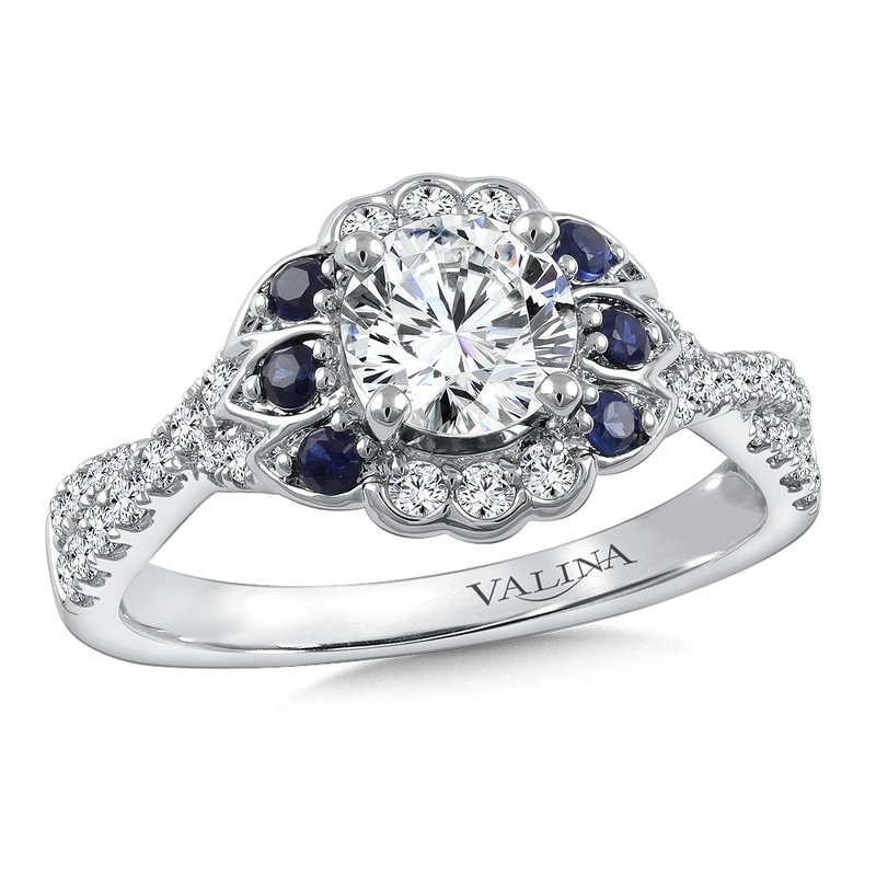 Valina Bridals Diamond & Blue Sapphire Engagement Ring Mounting in 14K White Gold (.32 ct. tw.)