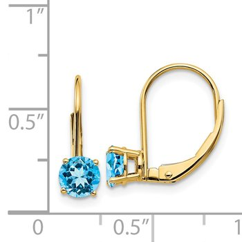 14k 5mm Blue Topaz Leverback Earrings