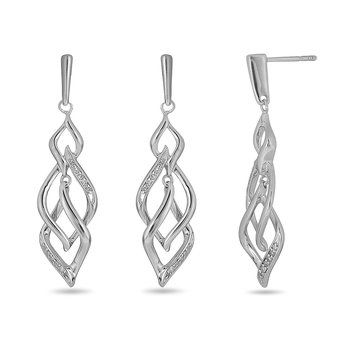 925 SS & Dia Fashion Earring in Leaf Linked Design