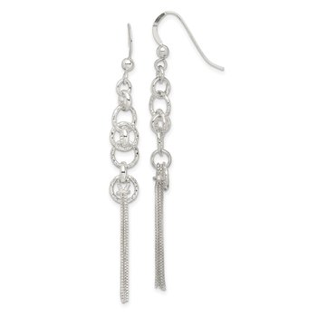 Sterling Silver Circle and Chain Multi-strand Dangle Earrings
