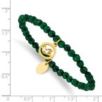Chisel Stainless Steel Polished Yellow IP Dove Green Jade Beaded Stretch Bracelet