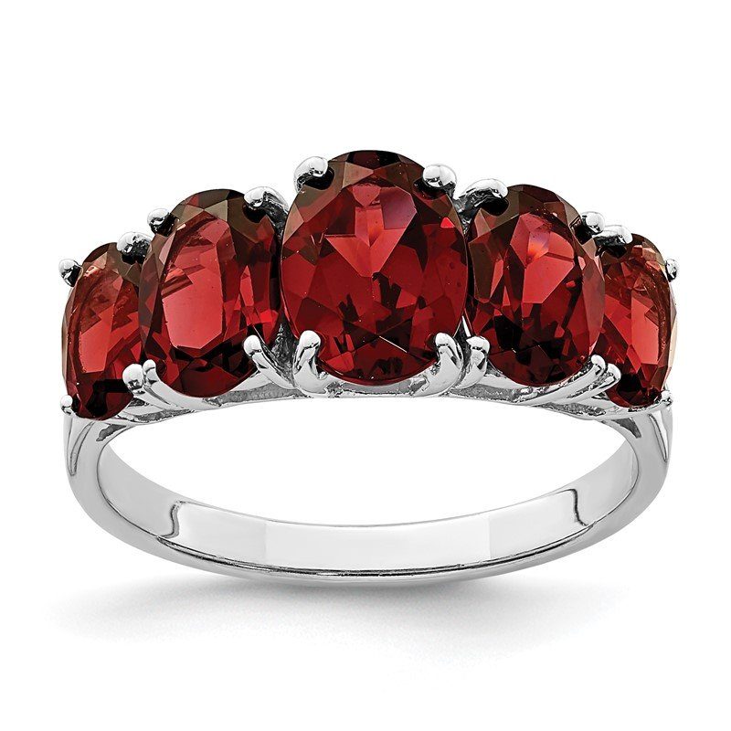 Quality Gold Sterling Silver Rhodium Garnet Ring