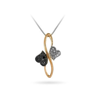 10K Rose Gold Black & White Diamond Heart Pendant