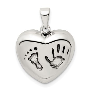 Sterling Silver Antiqued Heart Baby Foot Pendant