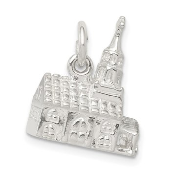 Sterling Silver 3-D Church Charm