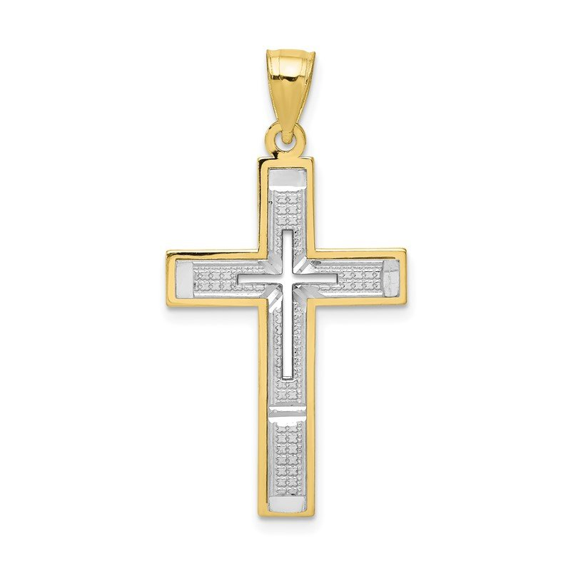 Quality Gold 10K w/ Rhodium Diamond-Cut Cross Pendant