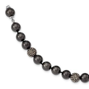 Sterling Silver Majestik Rhod-plated 10-11mm Blk Shell Crystal Bracelet