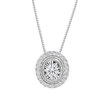 Oval Design Diamond Accent Pendant