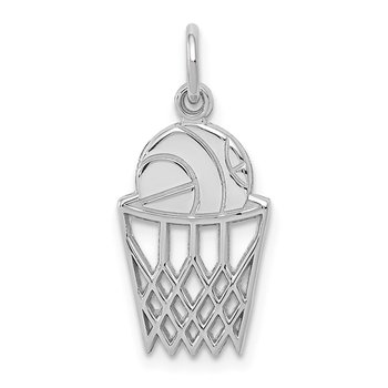 14k White Gold Basketball Charm