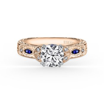 Blue Sapphire Diamond Engraved Engagement Ring