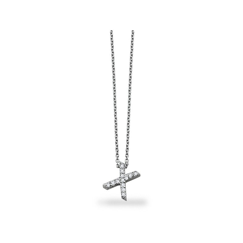 "KC Designs Diamond  Block Initial ""X"" Necklace in 14k White Gold with 13 Diamonds weighing .10ct tw."