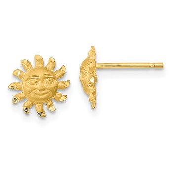14k Satin Diamond-cut Sun Post Earrings